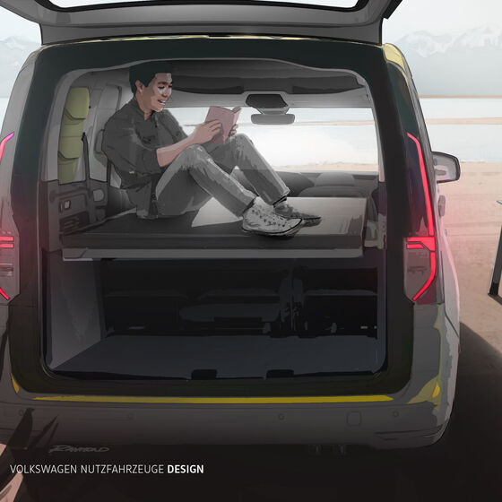 Design-Skizze des VW Caddy Beach in der Heckansicht